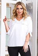 Блузка женская большой размер 5627 (50 52 54 56) (белый, красный, розовый, темно-синий, черный) СП, фото 1