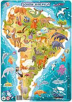 """Большой детский пазл картина с рамкой """"Животные Южной Америки"""" DoDo (на планшете)"""