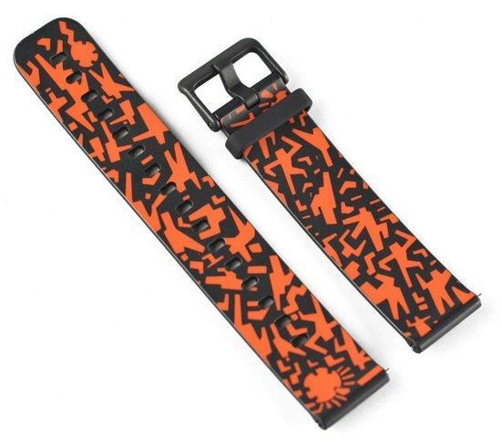 Оригинальный силиконовый ремешок для Amazfit Bip черно-оранжевый (A17263)
