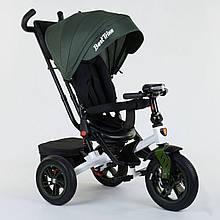 Велосипед детский 3-х колёсный с поворотным сиденьем Best Trike 9500 - 2265 Темно-зеленый (надувные колеса)