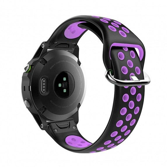 Силиконовый ремешок для GARMIN QuickFit 22 Nike-style Silicone Band Black/Purple