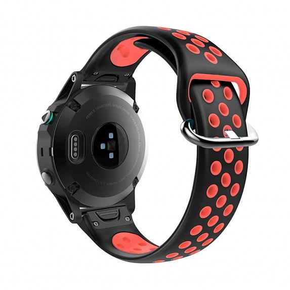 Силиконовый ремешок для GARMIN QuickFit 22 Nike-style Silicone Band Black/Red