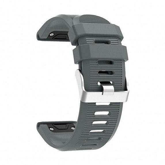 Силиконовый ремешок для GARMIN QuickFit 26 Srtiped Silicone Band Gray