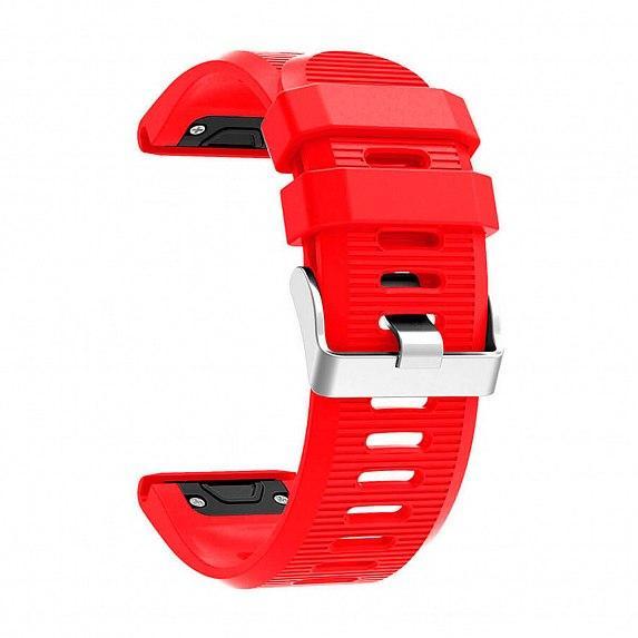 Силиконовый ремешок для GARMIN QuickFit 26 Srtiped Silicone Band Red