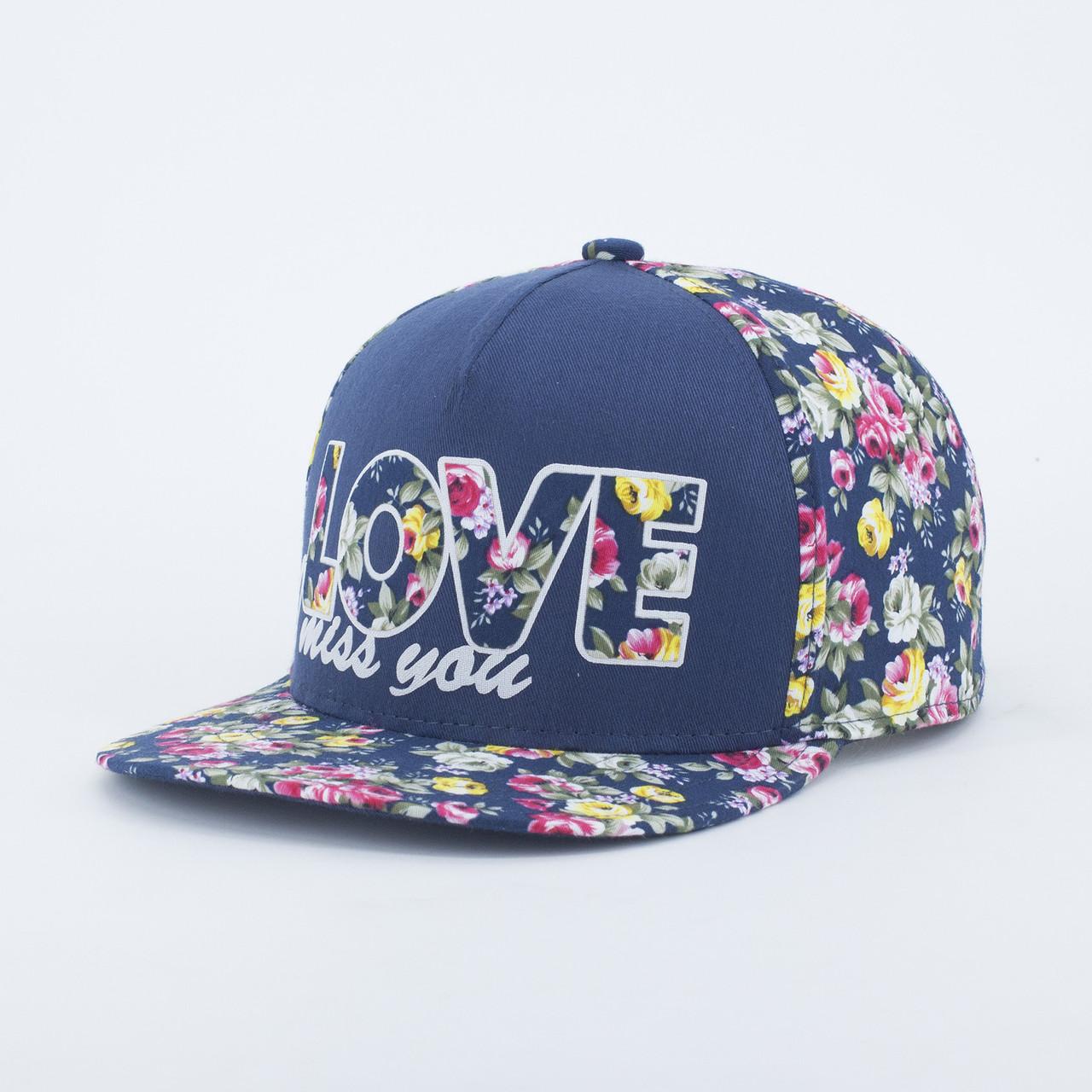 Детская кепка бейсболка для девочки INAL love XS / 51-52 RU Синий 175051