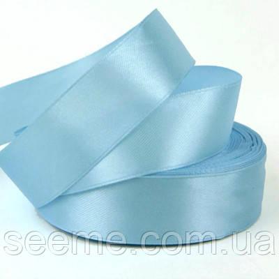 Стрічка атласна 25 мм, колір блакитний опал