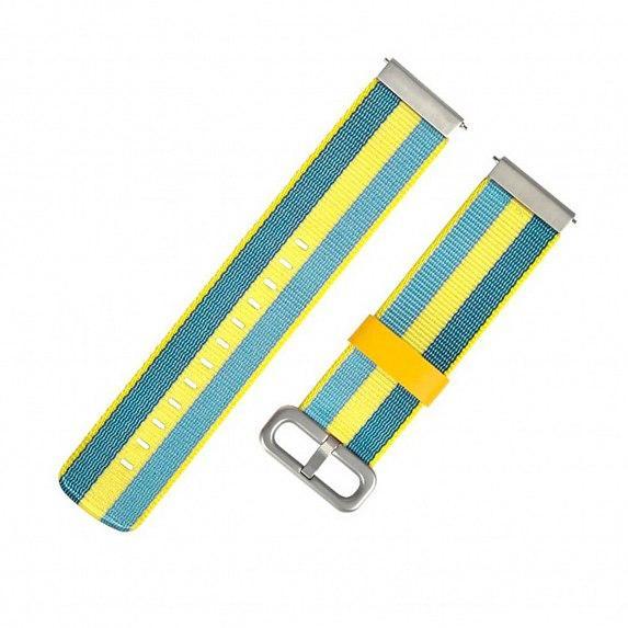 Универсальный текстильный ремешок для часов, 22мм (Amazfit Stratos/Pace), желто-голубой (AMZSTRUNTXT-BE)