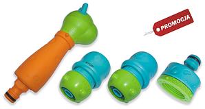 Набор детский для полива BLACK LINE - ороситель 3-х функциональный, коннектор 1/2 перех.на5/8 STOP+STANDART, адаптер 1/2 перех.на5/8, ECO-4540