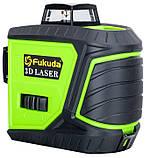 Лазерный уровень/лазерный нивелир ЗЕЛЕНЫЙ ЛУЧ 3D Fukuda MW-93T-2-3GJ (яркий зеленый луч). Аккумулятор 2600!, фото 7