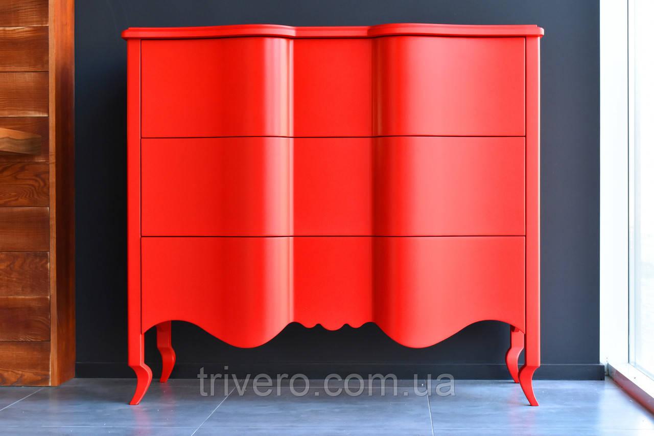 Дизайнерский красный комод из дерева