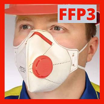 Защитная маска респиратор с клапаном (антивирусная) FFP3, Микрон. Оригинал.
