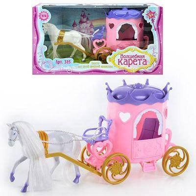 Карета 315 с лошадью в коробке 37-20-12 см, фото 2