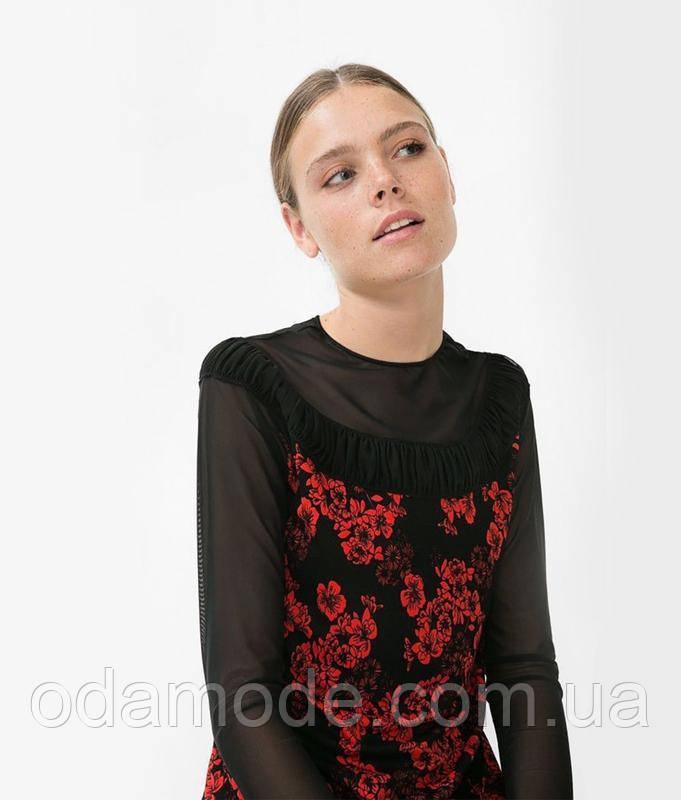 Блуза женская чёрная с капроновым рукавом и принтомDesigual