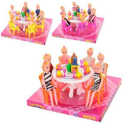 Столовая 501 стол, стол, стулья, куклы 6шт, посуда, микс цветов, в слюде, 22-22-12 см