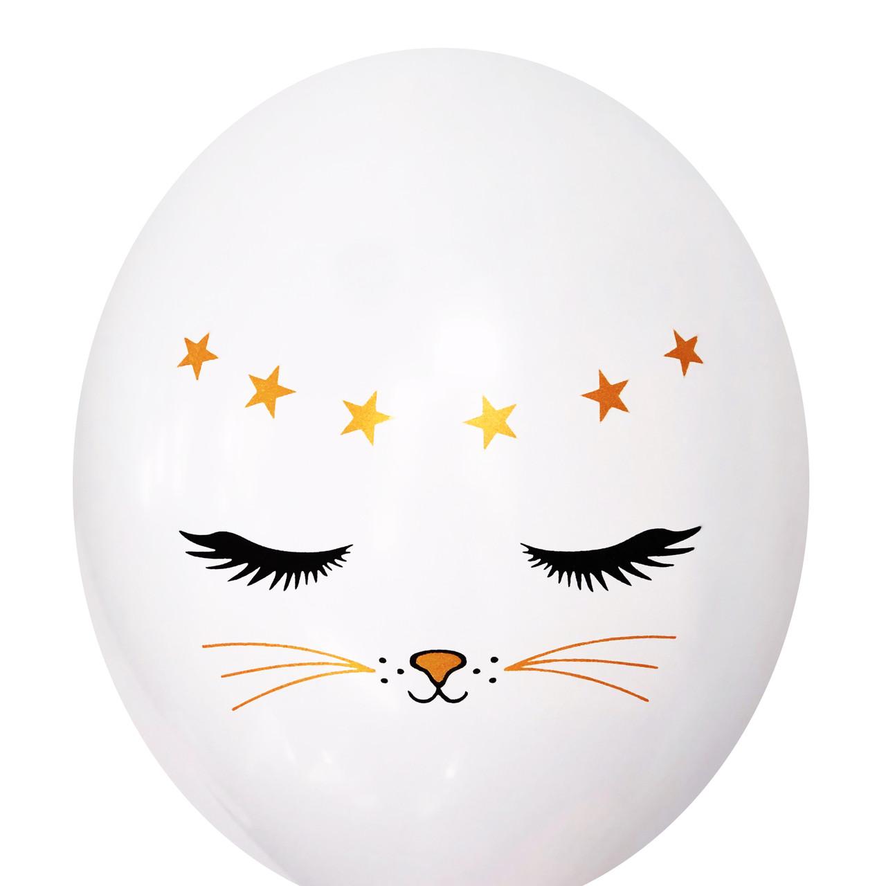 "0481 Шар 12"" (30 см) Котик на белом (BelBal)"