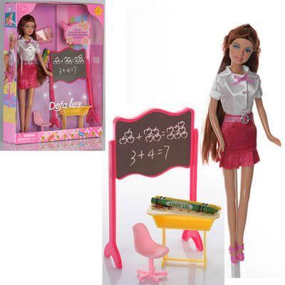 Кукла DEFA 8183 школьная доска, парта, стул, карандаши 2шт, в кор-ке 25-33-6см