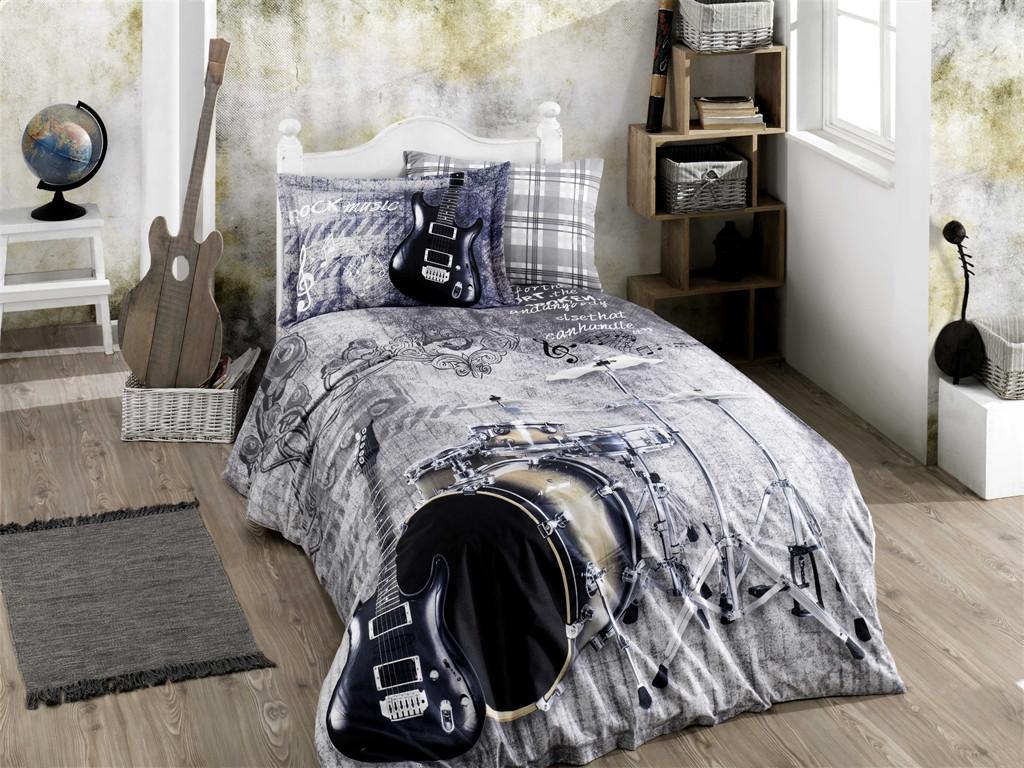 Полуторный комплект постельного белья Poplin Rock Music 160x220 см. (8698499141070)