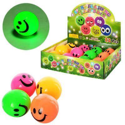 Мяч детский MS 0914 6,5см, пищалка, свет, резина, 4 цвета, 12шт в дисплее 30-23,5-7,5см, фото 2