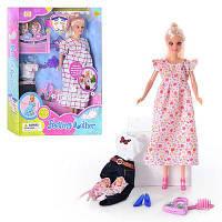 Кукла DEFA 8009, беременная, с одеждой, 2 ребенка, аксессуары, в кор-ке, 32,5-23,5-6см