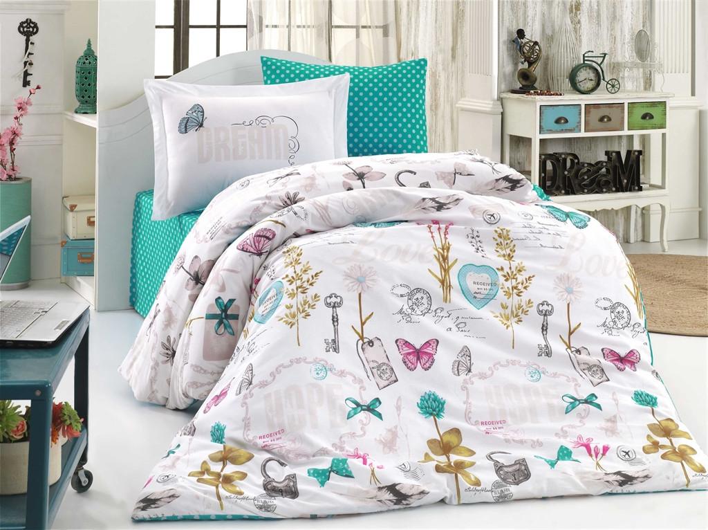 Полуторный комплект постельного белья Poplin Rossela 160x220 см. (8698499132504)