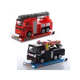 Машинка 89001-11-12 (72шт) инер-я,23см,подвиж.дет,2вида (пожарн.машина,эвакуатор),в слюде,26-14-10см