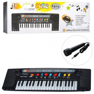 Синтезатор MQ-3700 (48шт) 37клавиш,муз, микрофон, 3тона,8ритмов,на бат-ке,в кор-ке,45-13,5-5см
