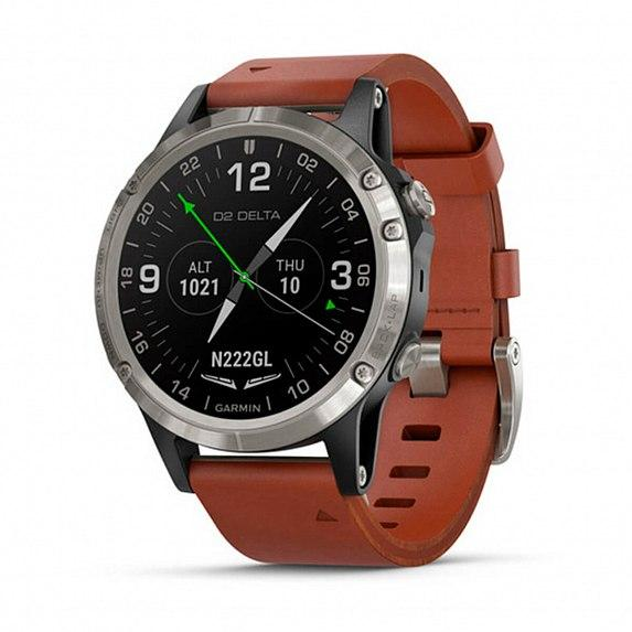Авиационные часы GARMIN D2 Delta with Brown Leather & Black Silicone Bands