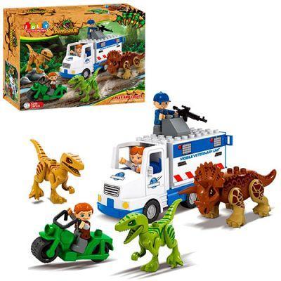 Конструктор JDLT 5248 динозавры, машина, мотоцикл, фигурки, 35дет, в кор-ке 37-28,5-10см
