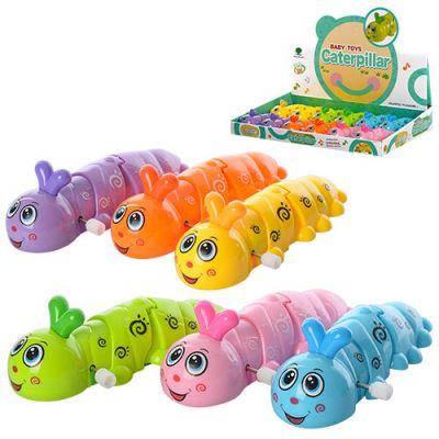 Заводная игрушка 687 гусеница, 13 см, 12 шт (6 цветов)в дисплее 38,5-26.5-5,5 см ЦЕНА ЗА БЛОК, фото 2