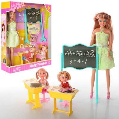 Кукла DEFA 6065 28см, школа, 2 детей 10см, доска, парта 2шт, стул 2шт, в кор-ке 27-33-8см