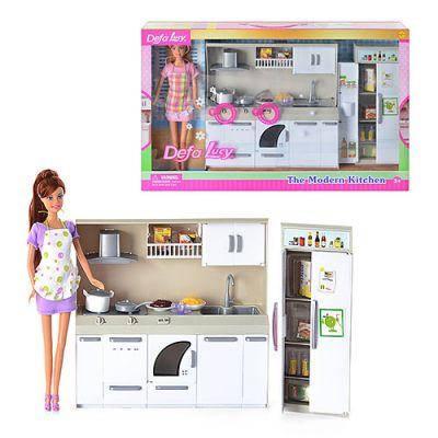 Мебель DEFA 6085 кухня, продукты, посуда, 2 вида, свет  50-32-9см батарейки 50-32-9см, фото 2