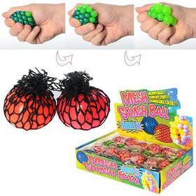 Игрушка MS 0415 (144 шт/ящ) антистресс, виноград, пузыри, мозги, в кульке, 5см, 24шт в дисплее ЦЕНА ЗА ДИСПЛЕЙ