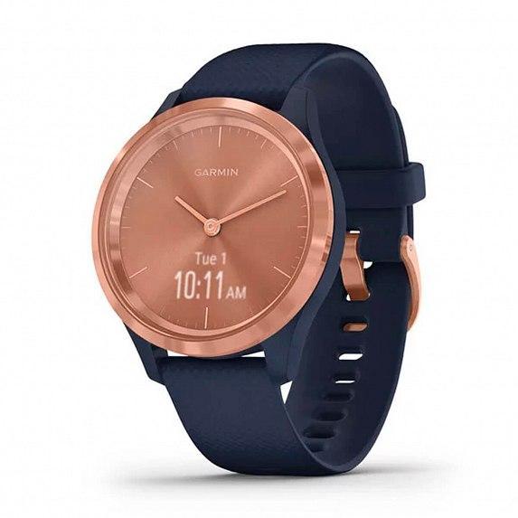 Спортивные часы GARMIN Vivomove 3S Rose Gold Stainless Steel Bezel with Navy Case and Silicone Band