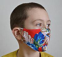 Защитная маска для лица трехслойная многоразовая тканевая детская, фото 1