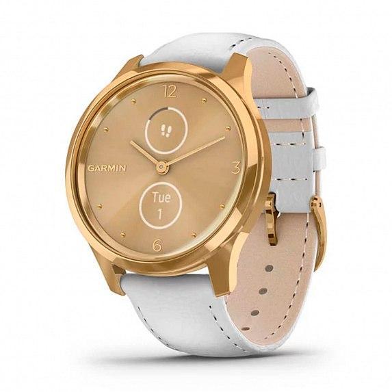 Спортивные часы GARMIN Vivomove Luxe 24K Gold PVD Stainless Steel Case with White Italian Leather Band