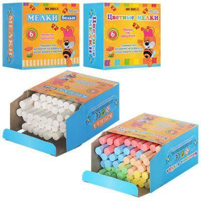 Мел MK 0091-1 для рисования, 48 шт, белый, в цветной коробке 8,5-8-5 см, фото 2