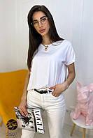 Женская футболка oversize белого цвета. Модель 24807, фото 1