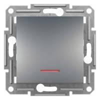 Выключатель одноклавишный проходной с подсветкой, Сталь Asfora, EPH1500162