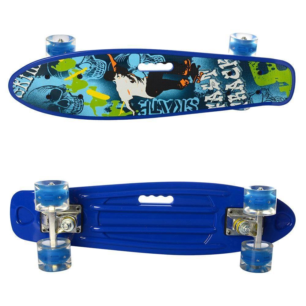 Скейт Пени Борд с подсветкой колес Penny Board синий