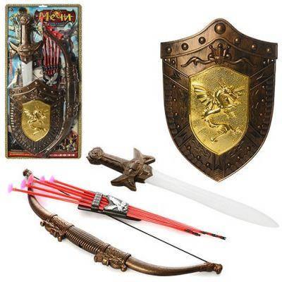 Детский игрушечный набор рыцаря 538-C2, лук 52 см, щит 30 см, меч 55 см, стрелы 5 шт, колчан, на листе, 29,5-63,5-3,5 см, фото 2