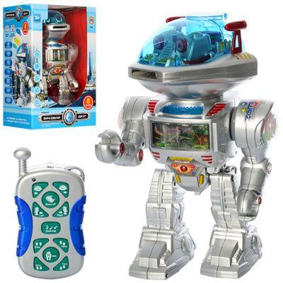 Робот 0908 р/у, стреляет дисками, танцует, звук (англ), свет, на бат-ке, в кор-ке, 22-32-16 см