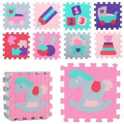 Коврик Мозаика Пазл M 2631 EVA, игрушки, 9дет (32-32см, 10мм), 6 текстур, в кульке 32-32-10 см, фото 2