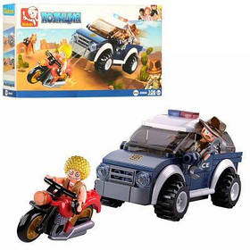 Конструктор SLUBAN M38-B0650 полиция, машина,мотоцикл,фигурки,106дет,в кор-ке 23,5-14-4,5см