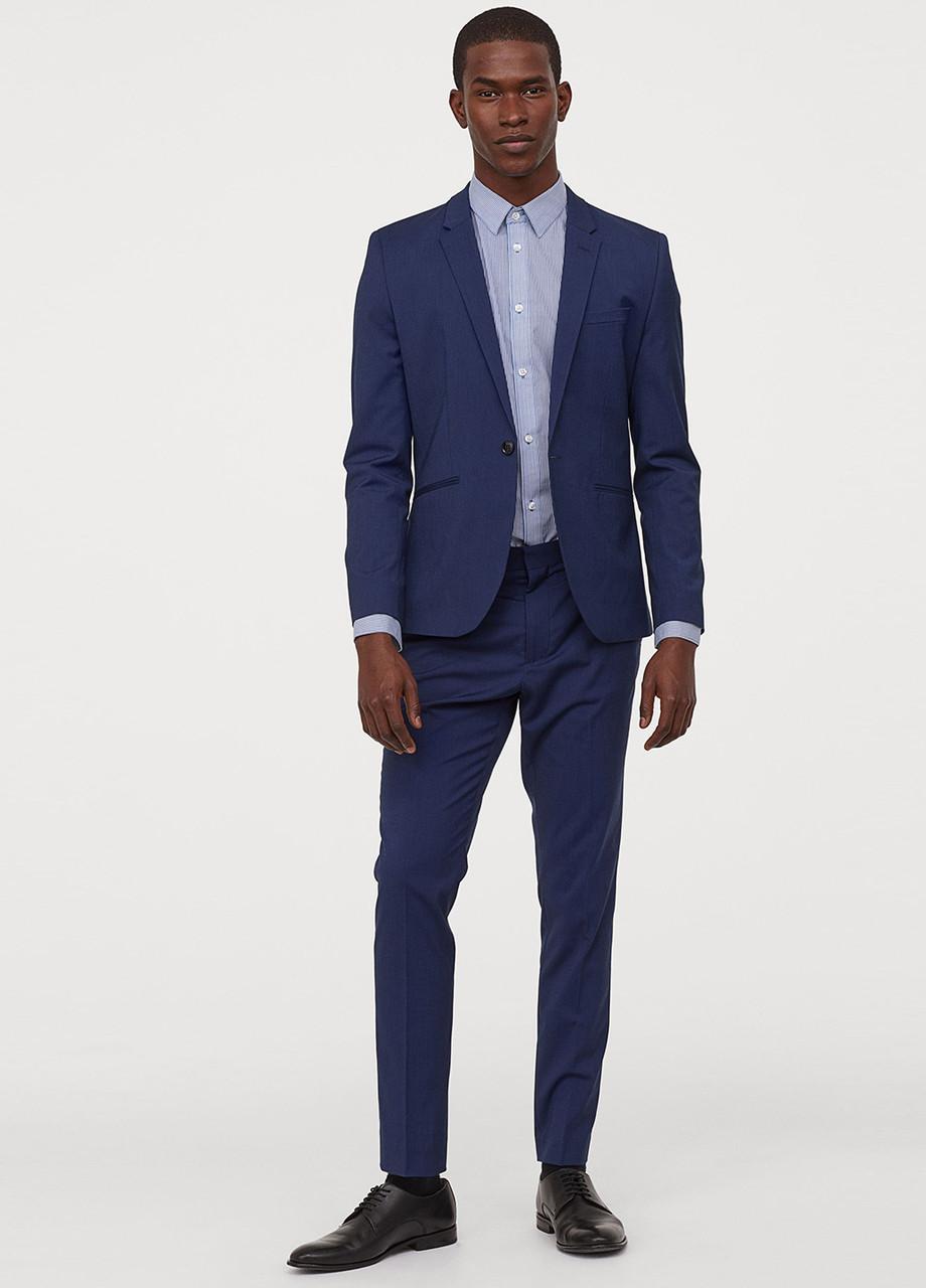 Темно-синие классические демисезонные зауженные брюки H&M