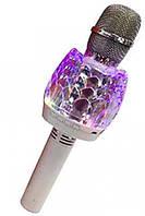 Караоке-мікрофон портативний c LED-підсвічуванням DM Q101, білий