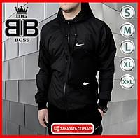 Мужская куртка не промокаемая ветровка с капюшоном Windbreaker, демисезонная (Черный)R1, фото 1