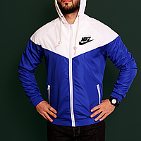 Куртка ветровка мужская спортивная синяя с белым Nike