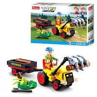Конструктор SLUBAN M38-B0777 трактор с прицепом, фигурка, 110 дет, в кор-ке 19-14,5-5 см