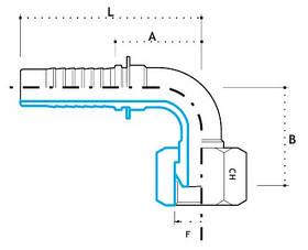"""Ниппель DKR 1/4""""-19 (под шланг dу=08 мм.) (угол 90 °)"""