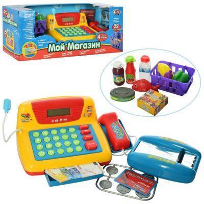 Магазин Кассовый аппарат 7016 , музыкальный, продукты в коробке 43-18-18см, фото 2